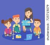 caucasian school kids learning...   Shutterstock .eps vector #725715079