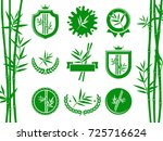 bamboo labels and elements set. ... | Shutterstock .eps vector #725716624