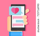 lover texting. send a... | Shutterstock .eps vector #725716990