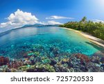 beautiful scenery of a tropical ... | Shutterstock . vector #725720533