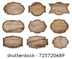 wooden sign isolated on white... | Shutterstock . vector #725720689