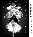 set of beautiful cartoon witch... | Shutterstock .eps vector #725727190