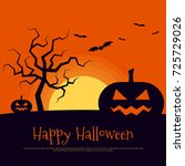 happy halloween poster template ... | Shutterstock .eps vector #725729026