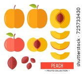 peach. whole peach and parts ... | Shutterstock .eps vector #725733430