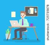 man working at office desk ... | Shutterstock .eps vector #725735878
