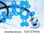 stethoscope  test tube  beaker... | Shutterstock . vector #725737954