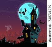 cartoon scary haunted house....   Shutterstock .eps vector #725738770