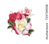 bouquet of roses  watercolor ... | Shutterstock . vector #725739058