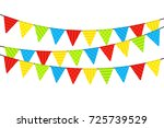 colorful party flags on white... | Shutterstock .eps vector #725739529