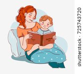 mother with cute baby reading... | Shutterstock .eps vector #725743720