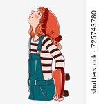 girl with skateboard | Shutterstock .eps vector #725743780