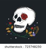 skull and rose on dark... | Shutterstock .eps vector #725748250