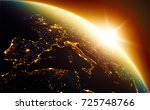 earth planet sunrise in outher... | Shutterstock . vector #725748766