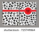 hand drawn cover with sushi.... | Shutterstock .eps vector #725749864