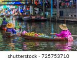 famous floating market in... | Shutterstock . vector #725753710