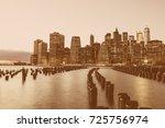 manhattan at night  new york...   Shutterstock . vector #725756974