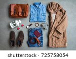 men's winter clothing style... | Shutterstock . vector #725758054