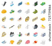 corporate icons set. isometric... | Shutterstock .eps vector #725759866