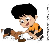 the children feed the dog  a... | Shutterstock .eps vector #725766958