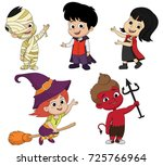 on the night of halloween the... | Shutterstock .eps vector #725766964