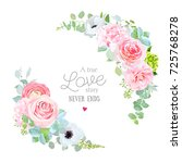 floral vector round frame with... | Shutterstock .eps vector #725768278
