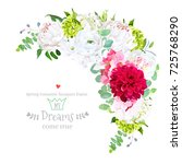 Stock vector stylish floral crescent shaped vector design frame with rose pink hydrangea peony ranunculus 725768290