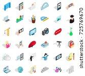 backpack icons set. isometric... | Shutterstock .eps vector #725769670