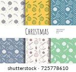 seamless set patterns. 6... | Shutterstock .eps vector #725778610
