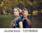 two portraits of dancers ethnic ...   Shutterstock . vector #725780800