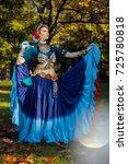 tribal dancer in a blue dress...   Shutterstock . vector #725780818