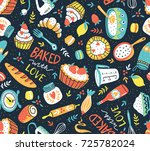 bakery retro seamless pattern... | Shutterstock .eps vector #725782024