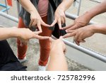 posting finger of group of... | Shutterstock . vector #725782996