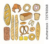 different kinds of bread in... | Shutterstock .eps vector #725783068