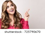 woman in pink shirt   surprise  ... | Shutterstock . vector #725790670