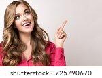 woman in pink shirt   surprise  ... | Shutterstock . vector #725790670