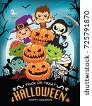 vintage halloween poster design ... | Shutterstock .eps vector #725791870
