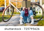 young hipster urban woman in... | Shutterstock . vector #725795626