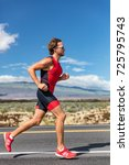 triathlon runner triathlete man ... | Shutterstock . vector #725795743