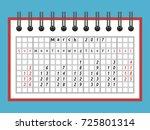 one month calendar in notepad... | Shutterstock . vector #725801314