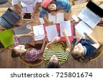 top view of multiethnic diverse ... | Shutterstock . vector #725801674