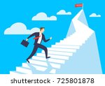 businessman running up stairway ... | Shutterstock .eps vector #725801878