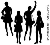 vector silhouettes of girls... | Shutterstock .eps vector #725802448