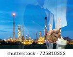 double exposure man survey oil... | Shutterstock . vector #725810323