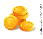 pile of golden coins with pound ... | Shutterstock .eps vector #725810416