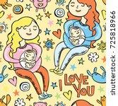 i love you. pregnant girl.... | Shutterstock .eps vector #725818966