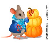 cute poster with gray mouse in... | Shutterstock .eps vector #725819794
