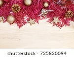 the red pine leaf with silver... | Shutterstock . vector #725820094