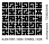 alien font isolated on white ... | Shutterstock .eps vector #725823448