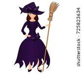 halloween holiday. cute girl... | Shutterstock .eps vector #725823634