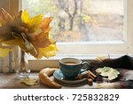 cozy autumn still life  cup of... | Shutterstock . vector #725832829